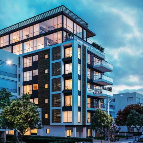 Infografía 3D edificio de viviendas